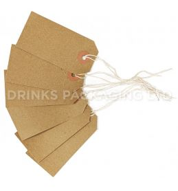 Pack of 100 Large Tags - Individually Strung Brown Kraft Paper Gift Tags (108mm x 54mm) | Beer Box Shop