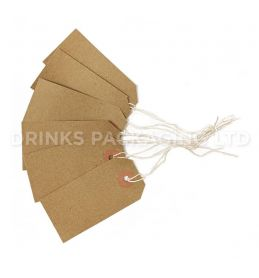 Pack of 100 Medium Tags - Individually Strung Brown Kraft Paper Gift Tags (96mm x 48mm) | Beer Box Shop
