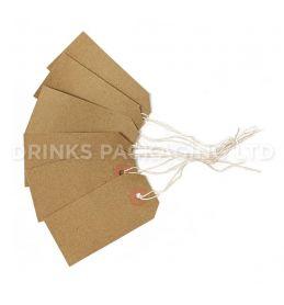 Pack of 100 Medium Tags - Individually Strung Brown Kraft Paper Gift Tags (96mm x 48mm) | Beer Box Shop