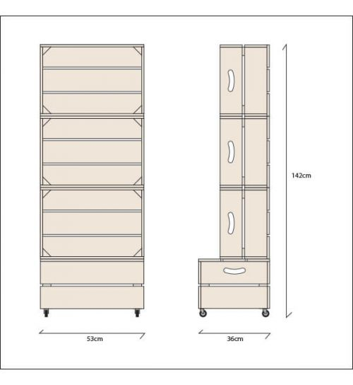 Large Three Crate Shelving Unit | Dimensions